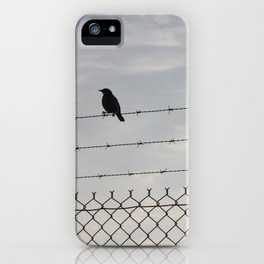 Single Black Bird on a Barbed Wire Fence iPhone Case