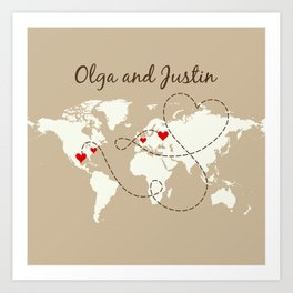 Personalized World Map Love Story Art Print