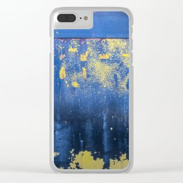 Blue and Yellow Rust Abstact Clear iPhone Case