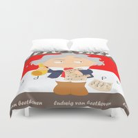 beethoven Duvet Covers featuring Ludwig van Beethoven by Alapapaju
