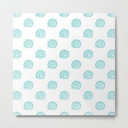 Aqua Spiral Abstract Pattern Metal Print