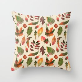 Oatmeal Fall Leaves Pattern Throw Pillow