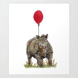 Rhino with balloon Art Print