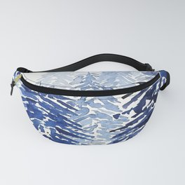 A snowy pine forest watercolor  Fanny Pack