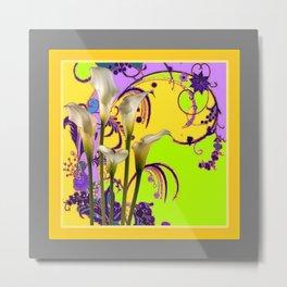 White Calla Lilies Lime-Purple Fantasy Garden Flowers Metal Print