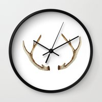 antler Wall Clocks featuring Antler by craftberrybush