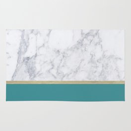 Teal Marble Gold Rug