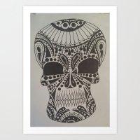 b/w candy skull Art Print