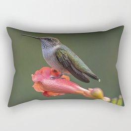 Humming bird resting on a flower Rectangular Pillow