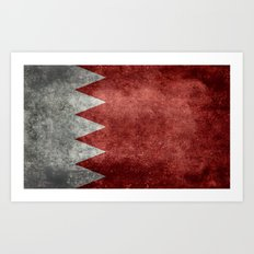 The flag of the Kingdom of Bahrain - Vintage version Art Print