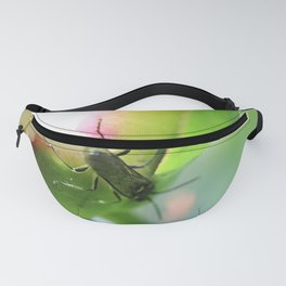 Peony bud and green beetle Fanny Pack
