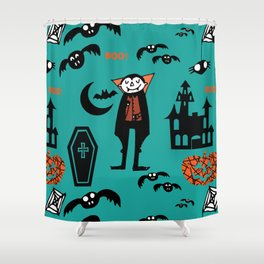 Cute Dracula and friends teal #halloween Shower Curtain