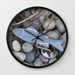Little Fisch At The Beach Wall Clock