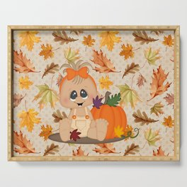 Fall Pumpkin Girl Serving Tray