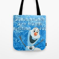 olaf Tote Bags featuring OLAF by DisPrints