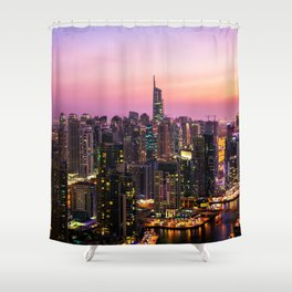 Skyline Jumeirah Lake Towers, Dubai, United Arab Emirates at Dusk Shower Curtain