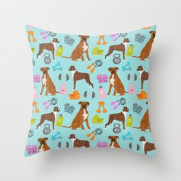 Boxer fitness workout goals dog breed custom pet portrait by pet friendly Throw Pillow