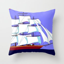 A Clipper Ship Full Sail in Still Waters Throw Pillow