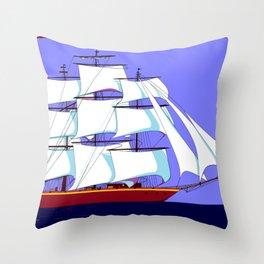A Clipper Ship Full Sail in Still Waters Throw Pillow