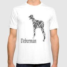 Doberman Scribble MEDIUM White Mens Fitted Tee