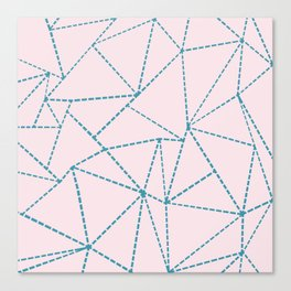 Ab Dotted Lines Blue on Pink Canvas Print