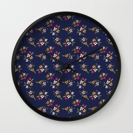 Vintage Inspired Navy Floral Bouquets Wall Clock