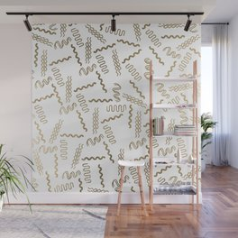 Geometrical white faux gold abstract retro 80's pattern Wall Mural