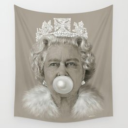 Queen Elizabeth II Blowing White Bubble Gum Wall Tapestry