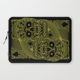 Ace of Spades Gold Skull Playing Card Laptop Sleeve