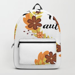 Hello Autumn lettering in Wreath with colorful leaves and flowers. Backpack