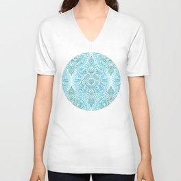 Turquoise Blue, Teal & White Protea Doodle Pattern Unisex V-Neck