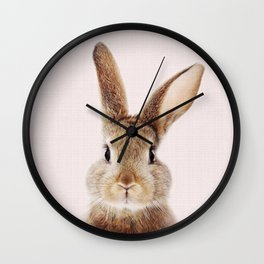 Baby Rabbit, Brown Bunny With Pink Background, Baby Animals Art Print By Synplus Wall Clock