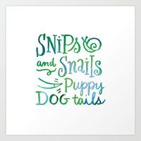 Watercolor Snips and Snails Art Print