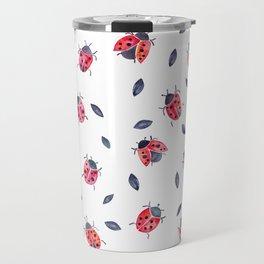 Lucky Ladybugs & Black Leaves Travel Mug