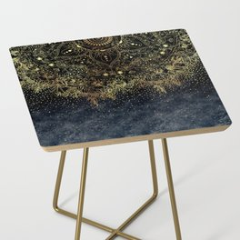 Stylish Gold floral mandala and confetti Side Table
