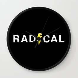 Radical - White on Black Wall Clock