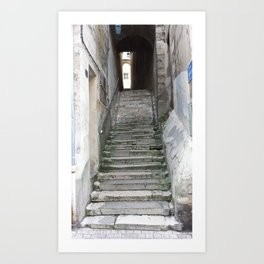 Old Stairs in Bourge, France Art Print