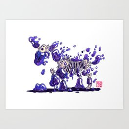 Blobby Skeleton - Galaxy Unicorn Art Print