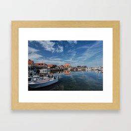 Nordish harbour - Marina at the Sea Bornholm Island Sky Clouds Framed Art Print