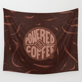 powered by coffee and swirls Wall Tapestry