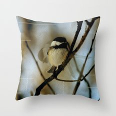 Black Capped Chickadee in motion with speckles Throw Pillow