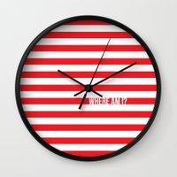 waldo Wall Clocks featuring Self Aware Waldo by Emily Young Design
