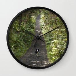 Border Collie on a Walk Wall Clock