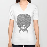 afro V-neck T-shirts featuring AFRO by varvar2076