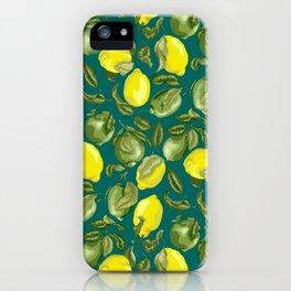 Limes and Lemons inside vintage pattern iPhone Case
