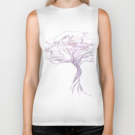 Quiet Acacia Zen Tree , Earthy African Bonsai Peace Lavendar Purple Biker Tank