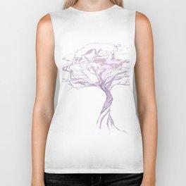 Quiet Acacia Zen Tree , Earthy African Bonsai Peace Lavendar Purple Biker Tank