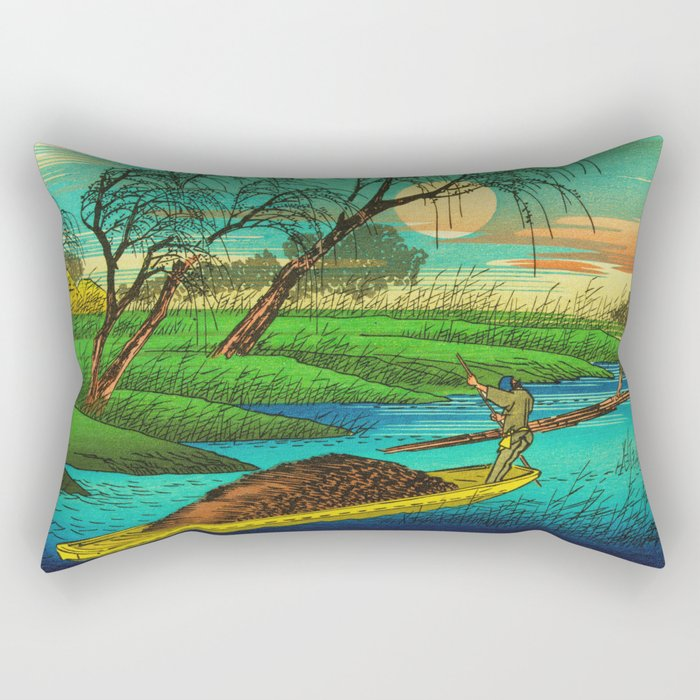 Seba Ohta River Japan Ukiyo e Art Rectangular Pillow