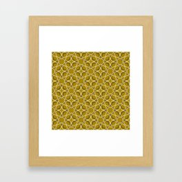 Moroccan pattern, Morocco. Patchwork mosaic with traditional folk geometric ornament black gold. Framed Art Print