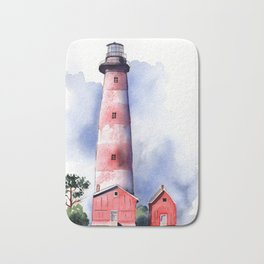 Assateague Light Watercolor and ink Painting Bath Mat
